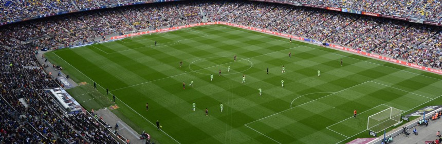 """FC Barcelona plays Getafe in Barcelona, Spain, on May 3. Spain's soccer federation says it will halt all professional games """"indefinitely"""" starting May 16, to protest a new law regulating the sale of television game rights. Spain's professional soccer league opposes the planned suspension, but the players union supports it."""